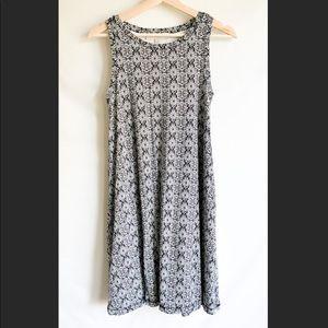 LOFT Black, White & Pink Swing Dress